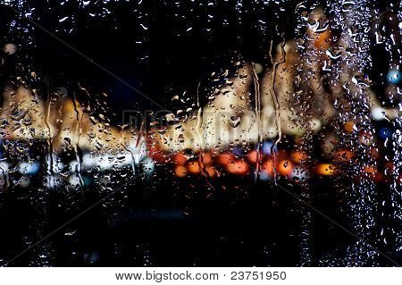 Blurred Lights For Wet Window