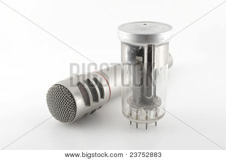 Old Glass Triode (valve) And Microphone
