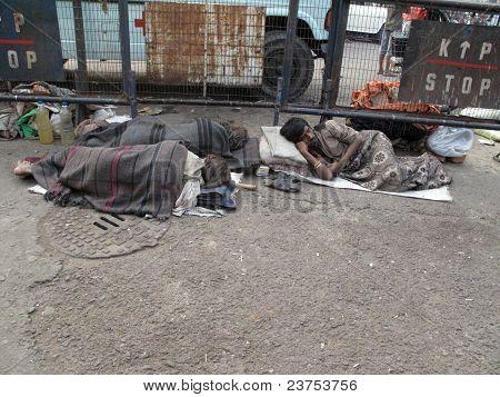 Straßen von Kalkutta.  Bettler