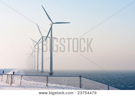 Dutch Offshore Wind Turbines In Winter Time