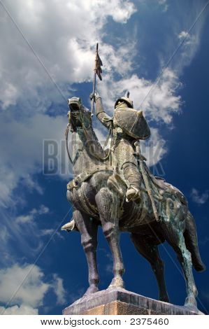 Horse Knight Statue In Blue Sky With Clouds