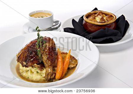 Plated Rotisserie Chicken Dinner