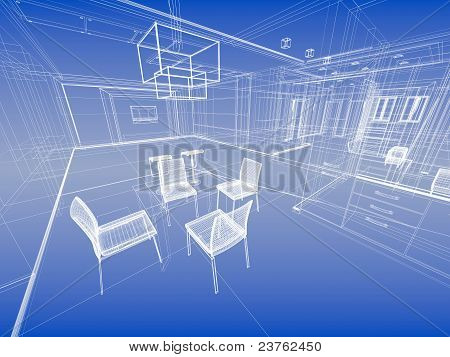 Abstract Wireframe Blue Interior