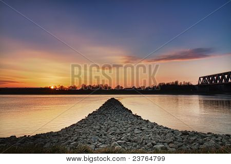 Sunset at Rhein river Wörth Germany