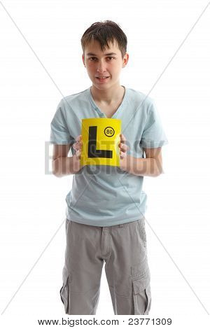 Teenager Holding L Plates