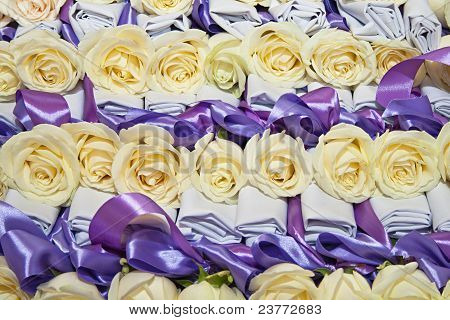 Many White Rose With Ribbon For Holiday