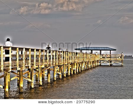 Surreal Fishing Pier Aglow Hdr