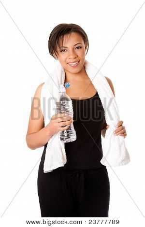 Female With Water After Workout