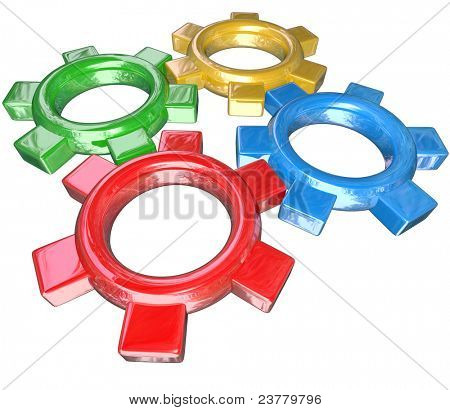 Four colorful gears -- one green, red, blue and gold -- turn in unison to symbolize synergy, cooperation, partnership and collaboration in working together to meet a goal or overcome a challenge