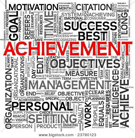 Achievement and success concept related words in tag cloud isolated on white