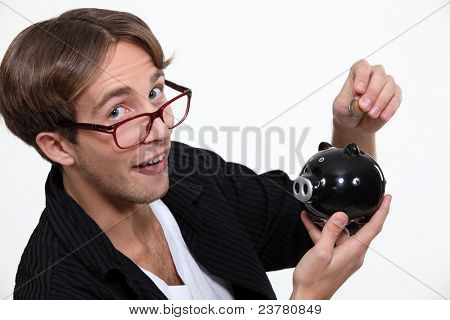 Man with a piggy bank