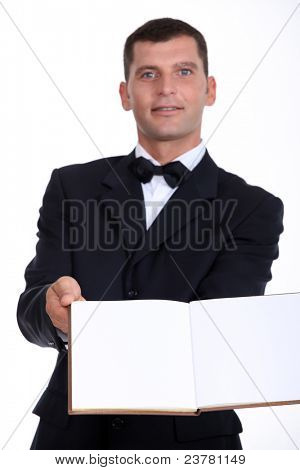 waiter reaching out menu