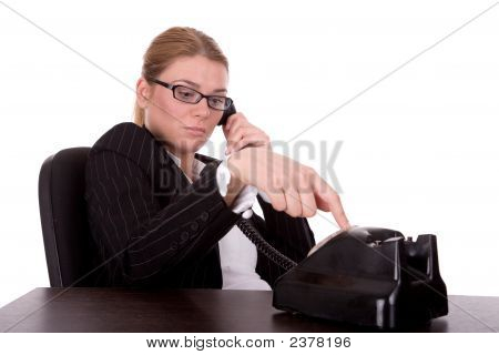 Businesswoman Communication By Old Phone