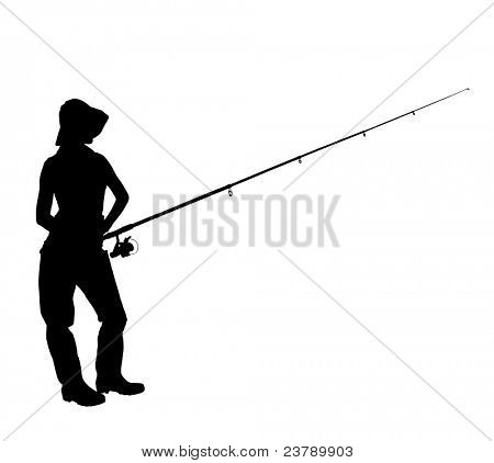 A silhouette of a fisherwoman holding a fishing pole isolated on white background