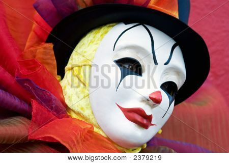 Clown In White Mask - Close Up