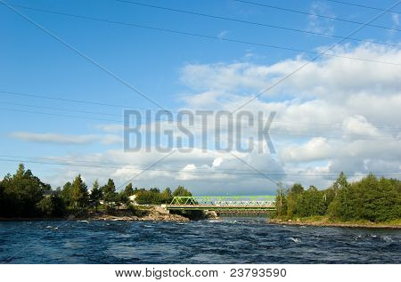 Automobile And Railway Bridges Across Vuoksi River
