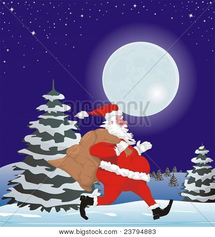 santa claus and full moon