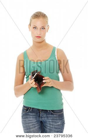 Young caucasian woman with empty wallet - broke . Isolated on white background.