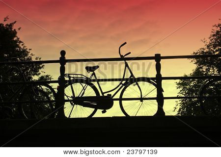 Bicycle At Sunset, An Amsterdam Icon