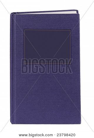 Blue Book With Blank Label For Your Title Or Message. White Background