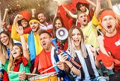 Football Supporter Fans Friends Cheering And Watching Soccer Cup Match At Intenational Stadium - You poster