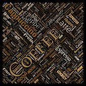 Conceptual creative hot morning italian coffee break cappuccino or espresso restaurant or cafeteria square red beverage word cloud isolated. A splash of energy or taste drink concept text