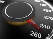 Car Speedometer Dial Indicating Maximum Speed. Automobile Background. 3D Illusatration. poster