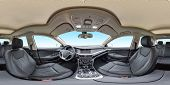 360 Angle Panorama View In Interior Of Prestige Modern Car Blue Background. Full 360 By 180 Degrees  poster
