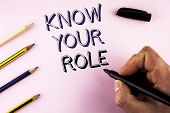 Word Writing Text Know Your Role. Business Concept For Define Position In Work Or Life Career Life G poster