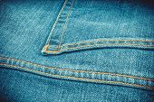 Bright Blue Denim Jeans With A Pocket Texture Background Vignetted poster
