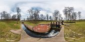 Panorama 360 Angle View Near Canal For Passing Vessels At Different Water Levels.  Gateway Lock Slui poster