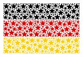 Germany Flag Collage Composed Of Fireworks Star Elements. Vector Fireworks Star Pictograms Are Unite poster
