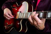 Guitarist Hands And Guitar Close Up. Guitar Chords poster