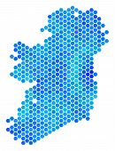 Hexagon Blue Ireland Island Map. Vector Geographic Map In Blue Color Tones On A White Background. Bl poster