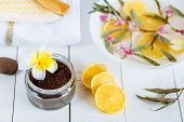 Spa And Bathroom Aromatherapy Accessories With Lemon Fruit. Coffee Coconut Scrub Hyacinth Towel poster