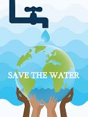 World Environment Day. Saving Water And World Environmental Protection Concept. World Water Day. Car poster