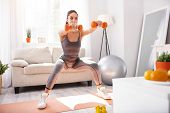 Beautiful Figure. Slim Young Woman Doing Squats And Holding Dumbbells, Conducting Her Daily Morning  poster