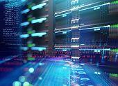 Super Computer Server Racks In Datacenter. 3D Illustration poster