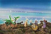 stock photo of magi  - Nativity Scene Adoration of the Magi miniature - JPG