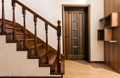 Modern Brown Oak Wooden Stairs  And Doors In New Renovated House Interior poster
