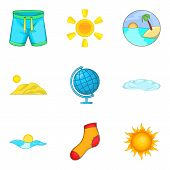 Mild Weather Icons Set. Cartoon Set Of 9 Mild Weather Vector Icons For Web Isolated On White Backgro poster