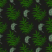 Tropical Pattern Palm Summer Green Palm Leaves Black Background. Vector Exotic Seamless Pattern Desi poster