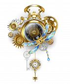 Antique, Gold Watch With Dark  Steampunk Clock Face With Mechanical Dragonfly, Brass And Gold Gears  poster