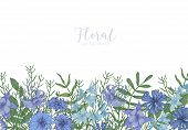 Rectangular Background Decorated With Blue Wild Blooming Flowers And Meadow Flowering Herbs At Botto poster