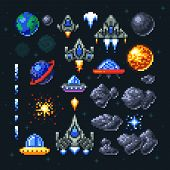 Retro Space Arcade Game Pixel Elements. Invaders, Spaceships, Planets And Ufo Vector Set. Video Arca poster