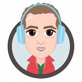 Cartoon Character, Vector Drawing Portrait Boy In Headphones Listening To Music, Man Smile Emotion,  poster