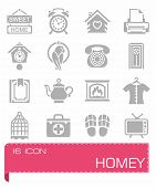 Vector Homey Icon Set On Grey Background poster