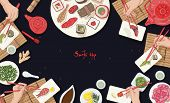 Horizontal Banner Template With Asian Restaurant Table Full Of Japanese Food And Hands Holding Sushi poster