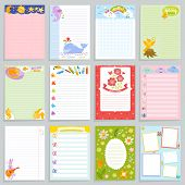 Kids Diary Vector Childish Notebook Blank And Childly Page Template Of Children Book For Notes Or Me poster