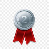 2 Winner Silver Medal Award With Ribbon Vector Realistic Icon Isolated On Transparent Background. Nu poster